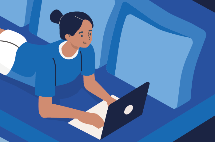 Illustration of woman on laptop for the individual accountancy services page